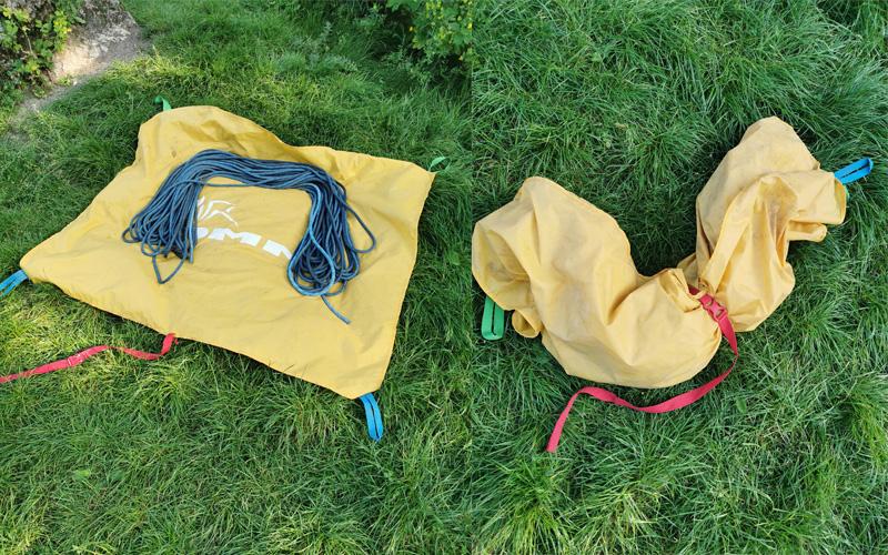 rozłożona i złożona płachta na linę z liną Millet Rock Up 9,8 70m (fot. arch. własne)