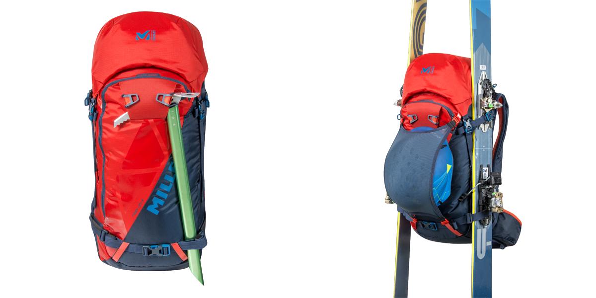 System mocowania czekana, kasku oraz nart w plecaku narciarskim (fot. millet.fr)