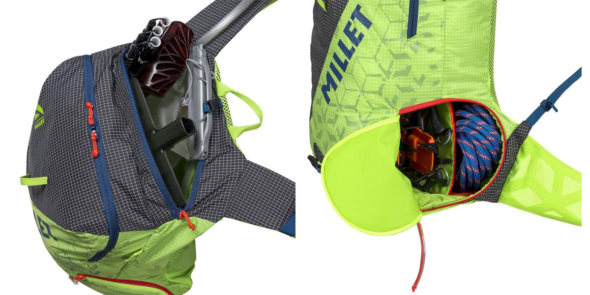 Funkcjonalne komory plecak skitourowego Millet Pierra 25 (fot. Millet.fr)