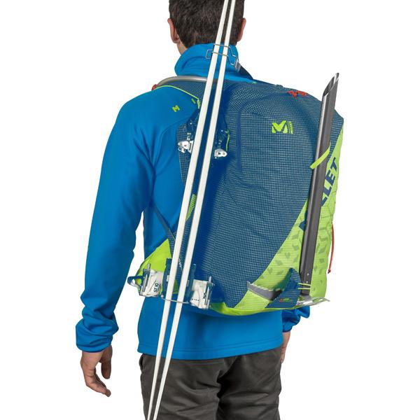System troczenia nart i czekana w plecaku skitourowym Millet Pierra 25 (fot. Millet.fr)