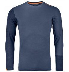 395bae989 KOSZULKA WEŁNIANA ORTOVOX 185 ROCK N WOOL LONG SLEEVE - NIGHT BLUE BLEND